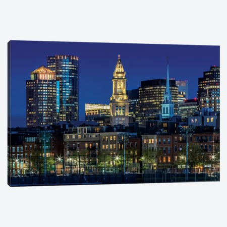 Boston Evening Skyline Of North End & Financial District Canvas Print #MEV123} by Melanie Viola Canvas Print