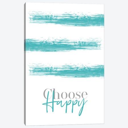 Choose Happy Teal Canvas Print #MEV130} by Melanie Viola Canvas Artwork