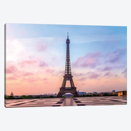 Eiffel Tower Sunrise Canvas Print #MEV139} by Melanie Viola Canvas Artwork