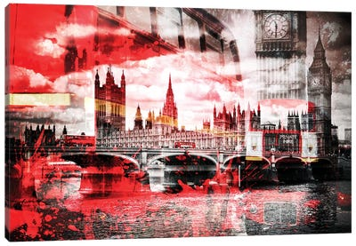 London Red Bus Composing Canvas Art Print