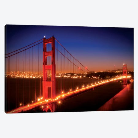 Evening Cityscape Of Golden Gate Bridge Canvas Print #MEV140} by Melanie Viola Canvas Art Print