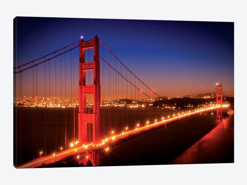 Evening Cityscape Of Golden Gate Bridge by Melanie Viola 1-piece Art Print
