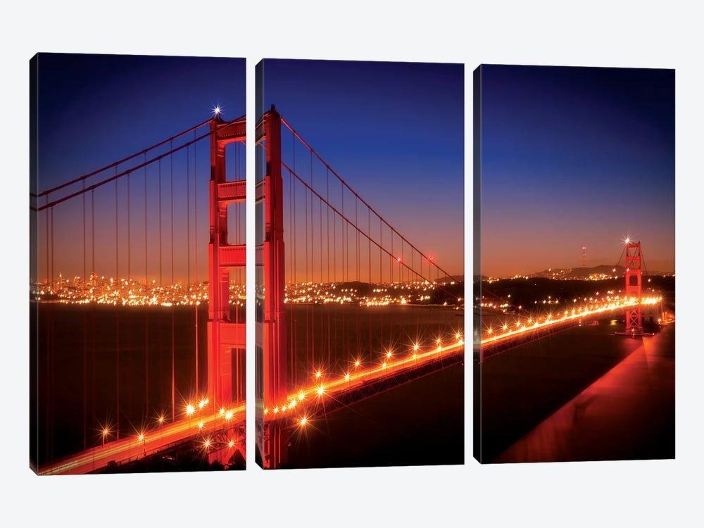 Evening Cityscape Of Golden Gate Bridge by Melanie Viola 3-piece Canvas Print