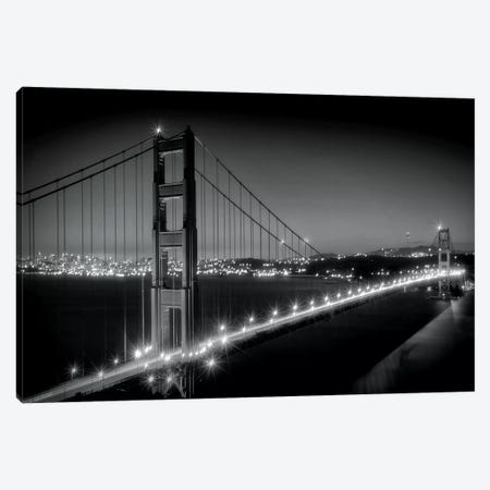 Evening Cityscape Of Golden Gate Bridge in Black And White Canvas Print #MEV141} by Melanie Viola Canvas Art Print
