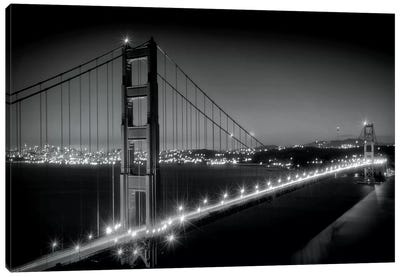 Evening Cityscape Of Golden Gate Bridge in Black And White Canvas Art Print