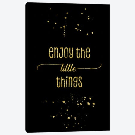 Gold Enjoy The Little Things Canvas Print #MEV145} by Melanie Viola Canvas Wall Art