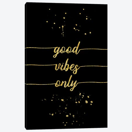 Gold Good Vibes Only Canvas Print #MEV146} by Melanie Viola Canvas Artwork