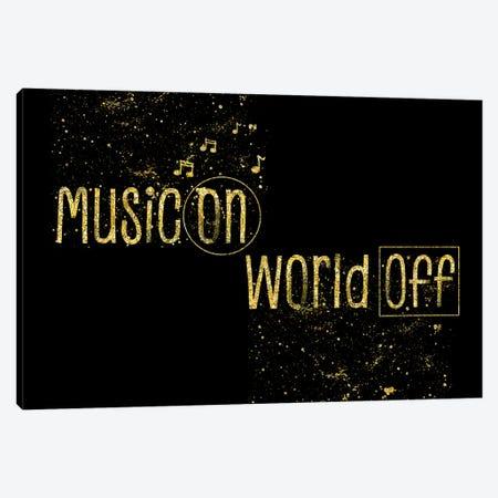 Gold Music On – World Off Canvas Print #MEV147} by Melanie Viola Canvas Wall Art