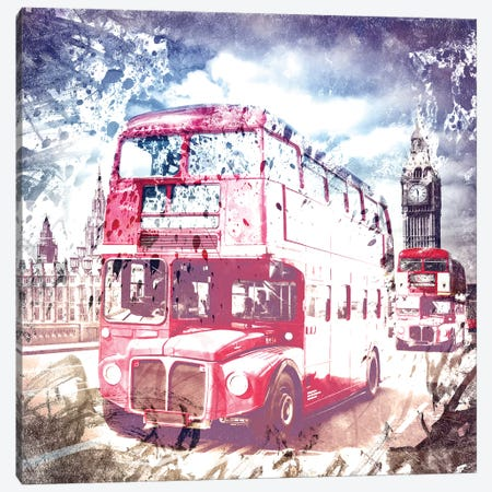 London Red Buses On Westminster Bridge Canvas Print #MEV14} by Melanie Viola Canvas Wall Art