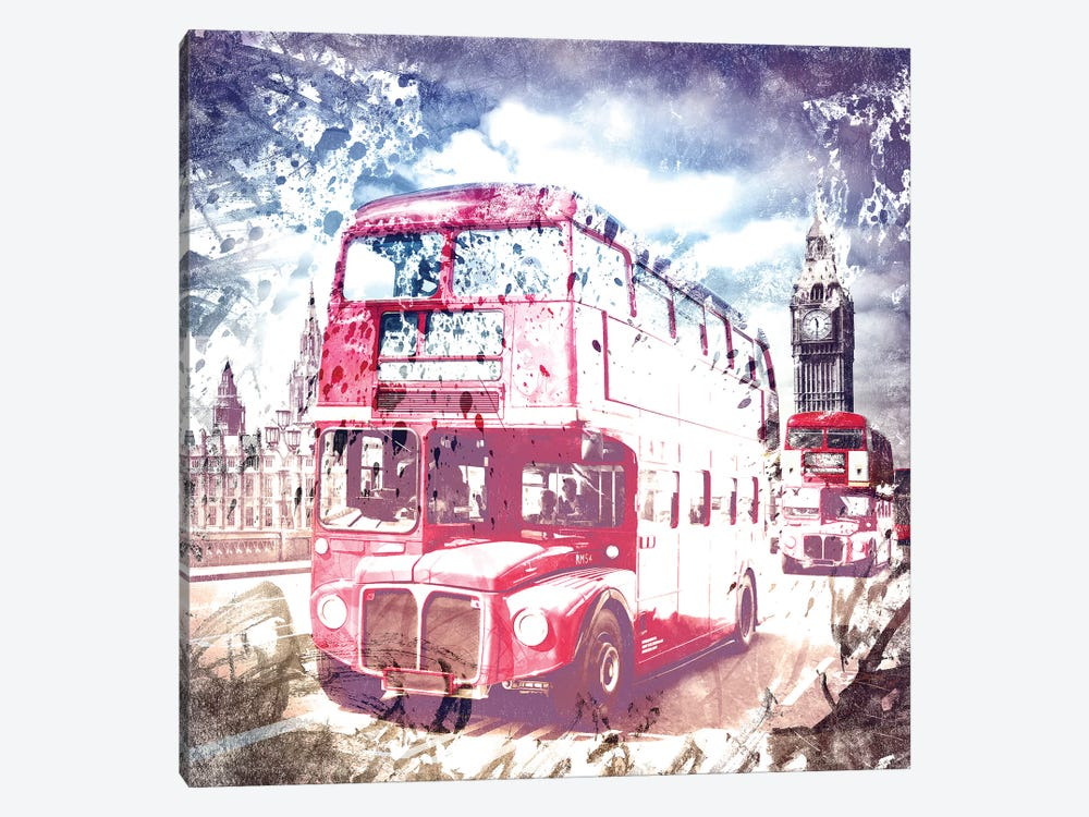 London Red Buses On Westminster Bridge 1-piece Canvas Art Print
