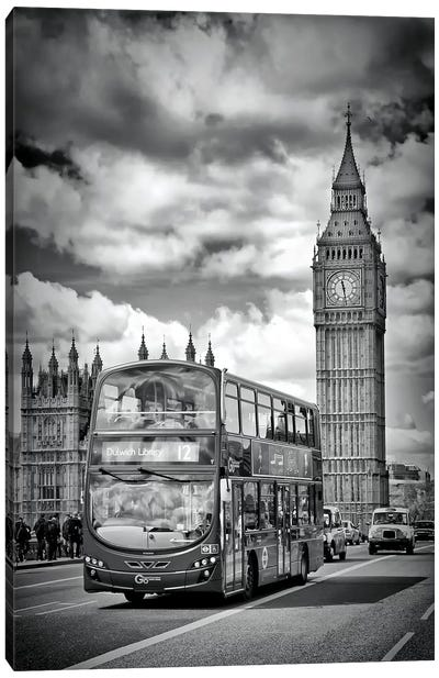 London Houses Of Parliament And Traffic Canvas Art Print