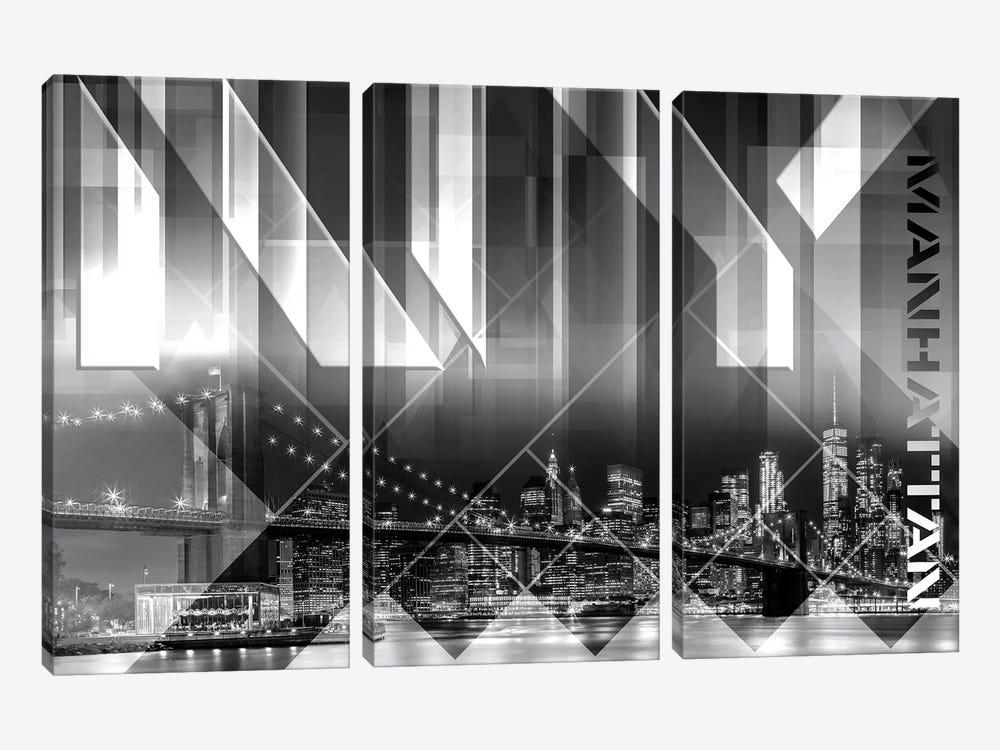 Modern Art Brooklyn Bridge & Skyline by Melanie Viola 3-piece Art Print
