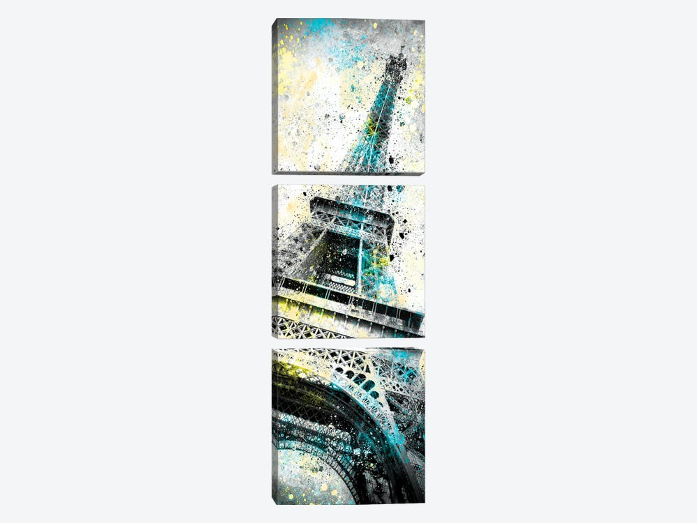 Modern Art Eiffel Tower Splashes I by Melanie Viola 3-piece Canvas Artwork