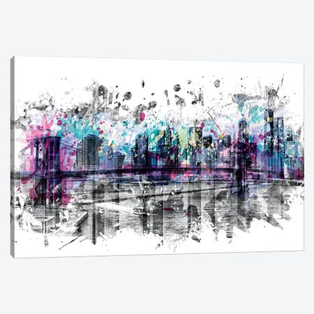 Modern Art New York City Skyline Splashes Canvas Print #MEV167} by Melanie Viola Canvas Artwork