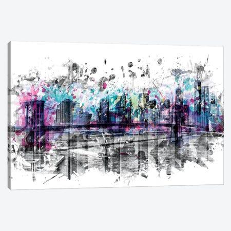 Modern Art New York City Skyline Splashes Canvas Print #MEV167} by Melanie Viola Canvas Artwork