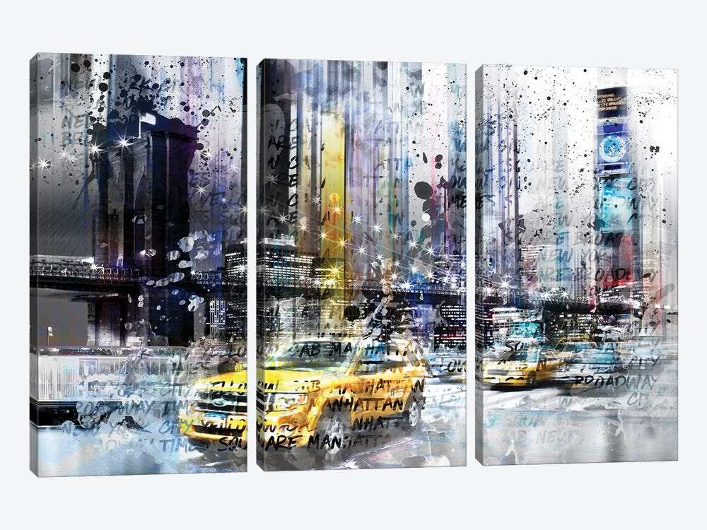 NYC Collage by Melanie Viola 3-piece Canvas Art Print