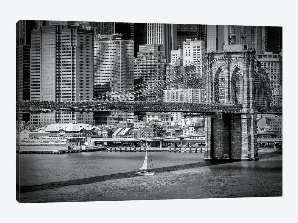 New York City Brooklyn Bridge & Manhattan Skyline by Melanie Viola 1-piece Canvas Art