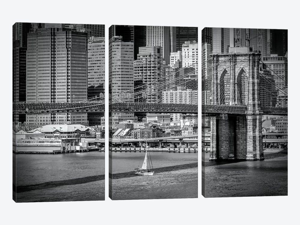 New York City Brooklyn Bridge & Manhattan Skyline by Melanie Viola 3-piece Canvas Wall Art