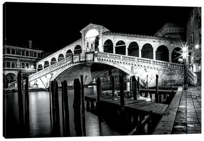 Venice Rialto Bridge At Night Canvas Art Print