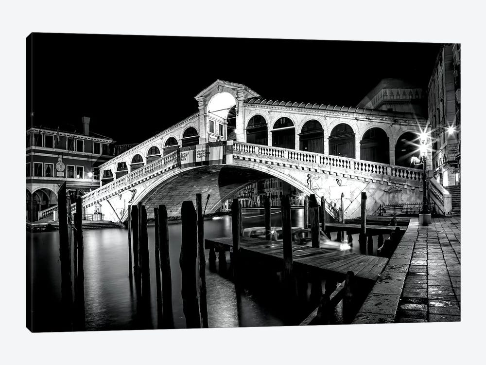 Venice Rialto Bridge At Night by Melanie Viola 1-piece Canvas Art Print