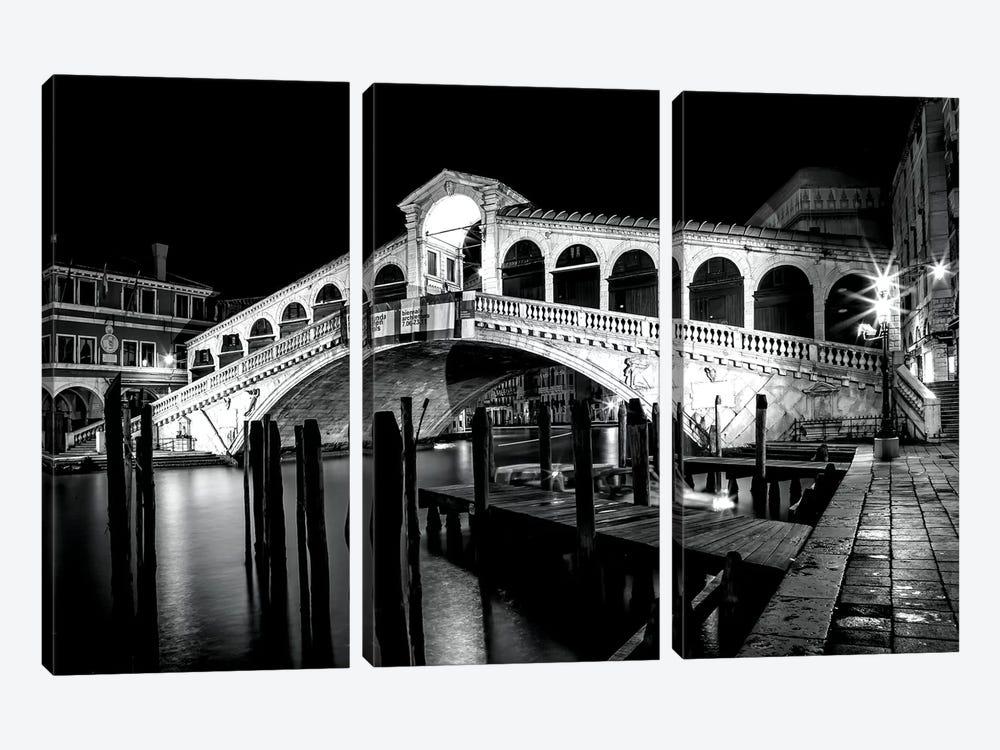 Venice Rialto Bridge At Night by Melanie Viola 3-piece Art Print