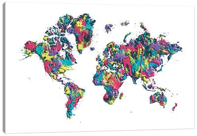 World Map Splashes Canvas Art Print