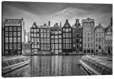 Amsterdam Damrak And Dancing Houses Canvas Art Print