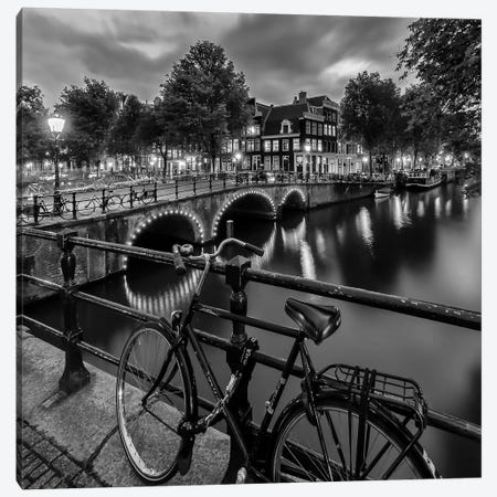 Amsterdam Evening Impression From Brouwersgracht Canvas Print #MEV198} by Melanie Viola Canvas Wall Art
