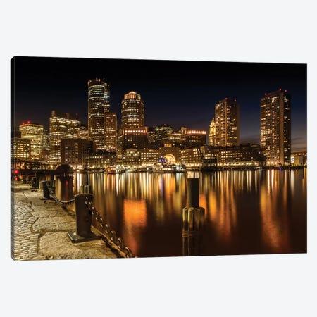 Boston Fan Pier Park & Skyline At Night Canvas Print #MEV205} by Melanie Viola Canvas Art Print