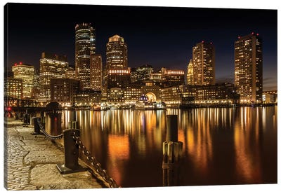 Boston Fan Pier Park & Skyline At Night Canvas Art Print