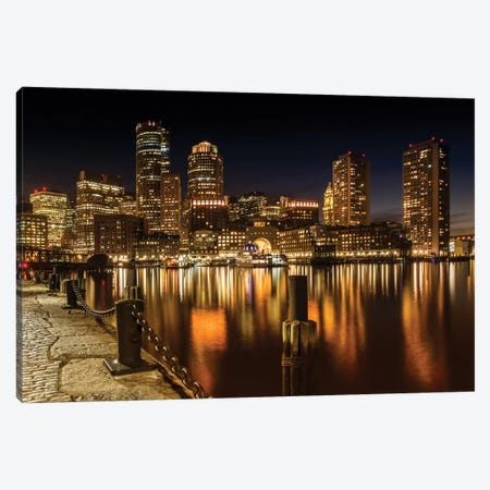 Boston Fan Pier Park & Skyline At Night Canvas Print #MEV205} by Melanie Viola Canvas Art Print