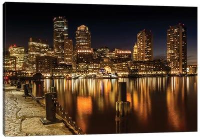 Boston Fan Pier Park & Skyline At Night Canvas Art Print