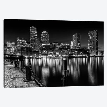 Boston Fan Pier Park & Skyline At Night | Monochrome Canvas Print #MEV206} by Melanie Viola Canvas Print