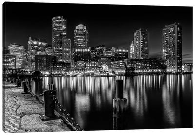 Boston Fan Pier Park & Skyline At Night | Monochrome Canvas Art Print
