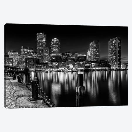 Boston Fan Pier Park & Skyline At Night | Monochrome Canvas Print #MEV206} by Melanie Viola Canvas Print