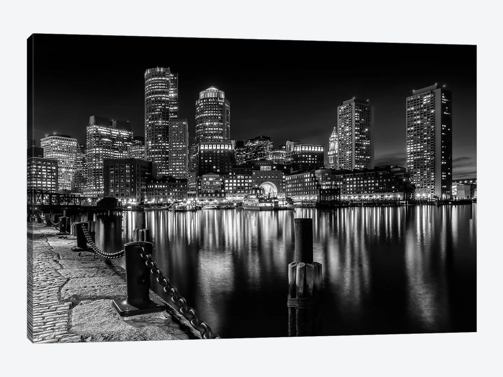 Boston Fan Pier Park & Skyline At Night | Monochrome by Melanie Viola 1-piece Art Print