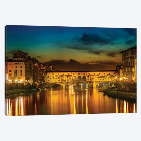 Florence Ponte Vecchio At Sunset Canvas Print #MEV216} by Melanie Viola Canvas Artwork