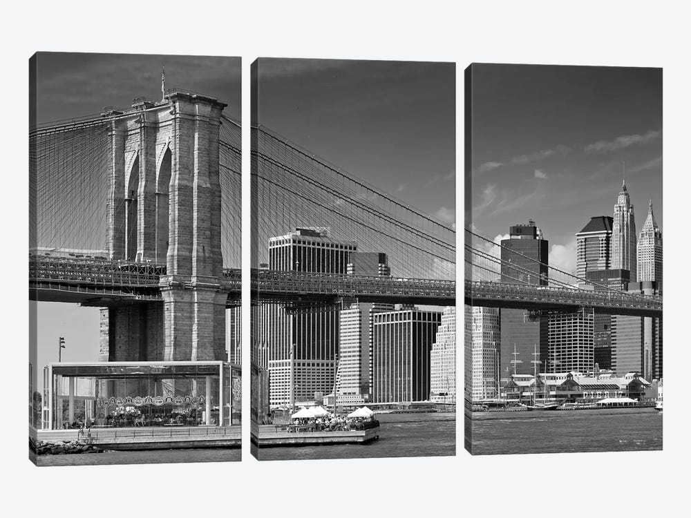 Manhattan Skyline & Brooklyn Bridge by Melanie Viola 3-piece Canvas Artwork