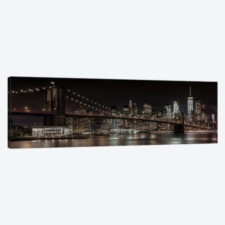 Manhattan Skyline & Brooklyn Bridge Idyllic Nightscape Canvas Print #MEV222} by Melanie Viola Canvas Artwork