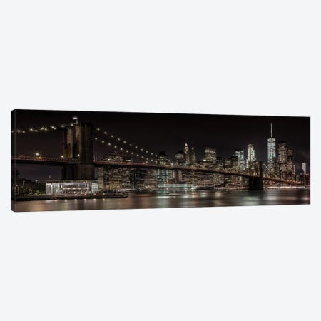 Manhattan Skyline & Brooklyn Bridge Idyllic Nightscape Canvas Print #MEV222} by Melanie Viola Canvas Artwork