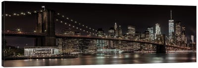 Manhattan Skyline & Brooklyn Bridge Idyllic Nightscape Canvas Art Print