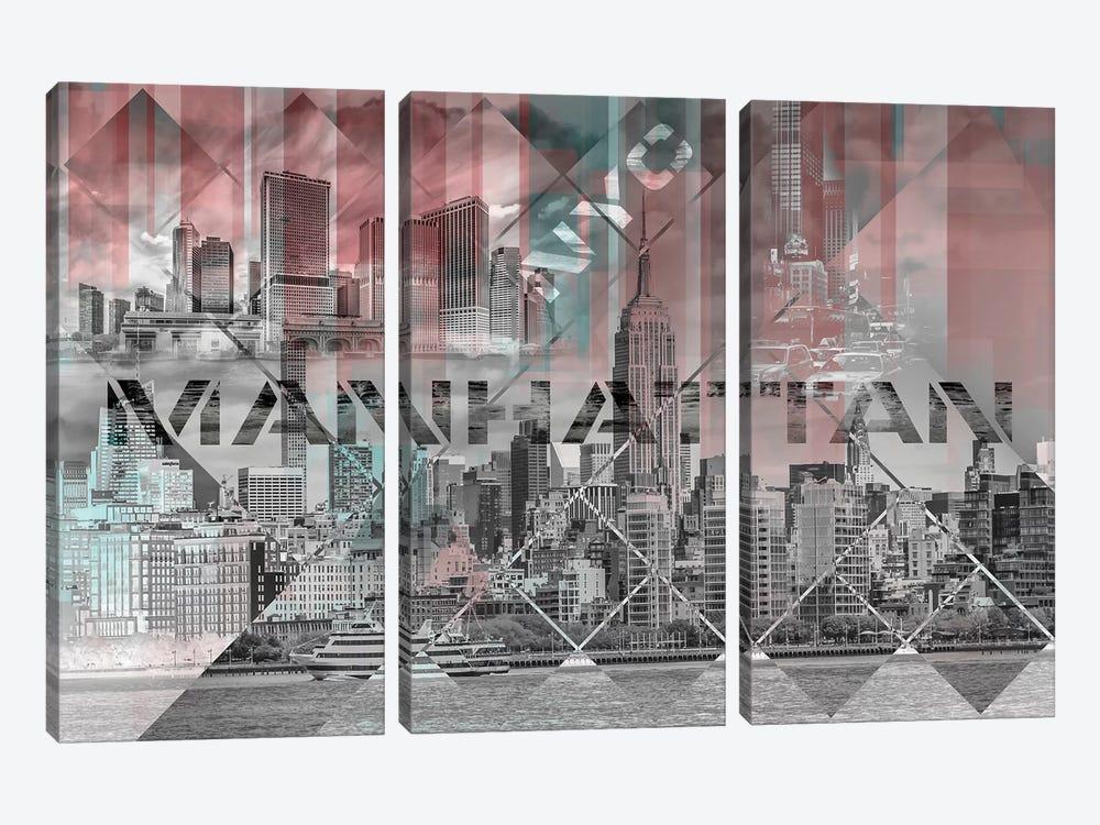 Modern Art Manhattan Collage by Melanie Viola 3-piece Canvas Art Print