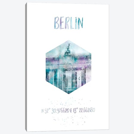 Coordinates Berlin Brandenburg Gate Canvas Print #MEV22} by Melanie Viola Canvas Artwork