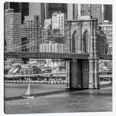 New York City Brooklyn Bridge And East River Canvas Print #MEV231} by Melanie Viola Canvas Art Print