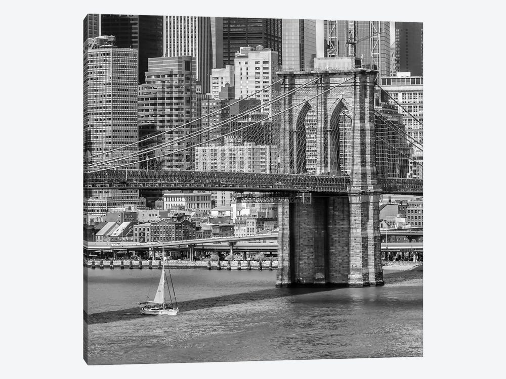 New York City Brooklyn Bridge And East River by Melanie Viola 1-piece Canvas Art Print