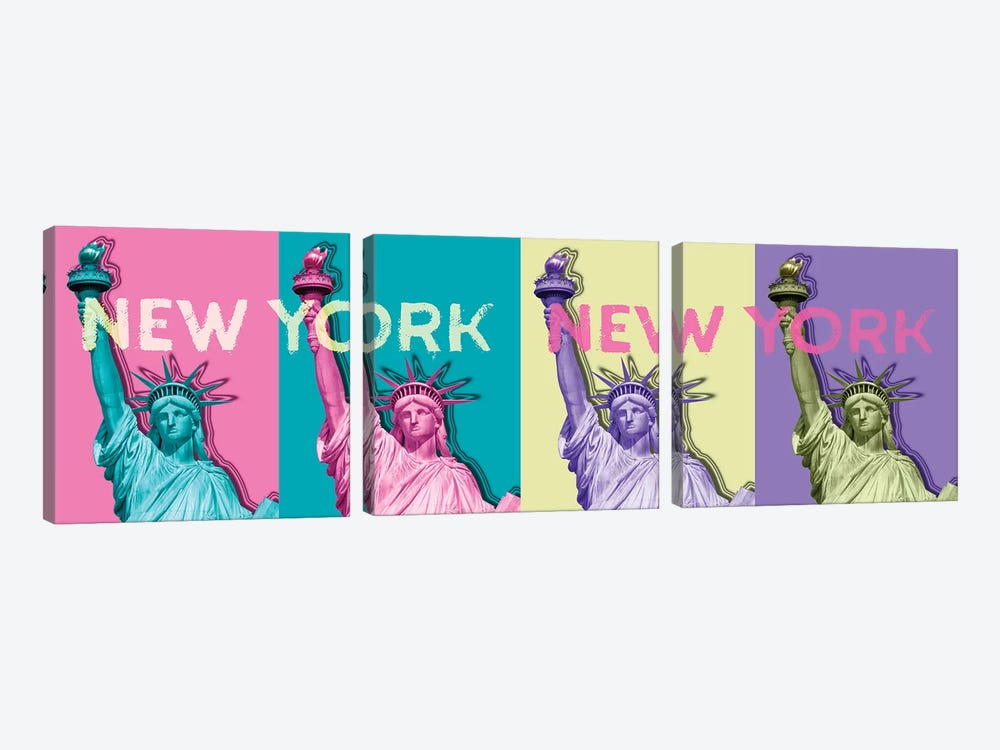Pop Art Statue Of Liberty III by Melanie Viola 3-piece Canvas Print