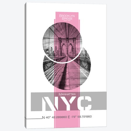 Poster Art NYC Brooklyn Bridge | Pink Canvas Print #MEV237} by Melanie Viola Canvas Art