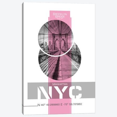 Poster Art NYC Brooklyn Bridge | Pink Canvas Print #MEV237} by Melanie Viola Canvas Art