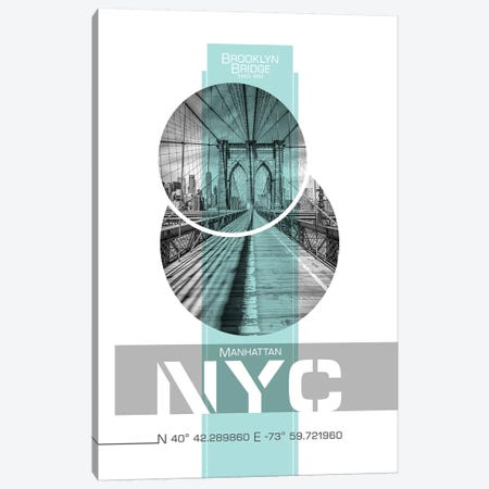Poster Art NYC Brooklyn Bridge | Turquoise Canvas Print #MEV238} by Melanie Viola Canvas Art Print
