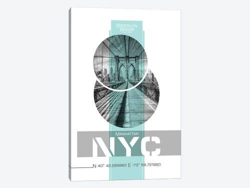 Poster Art Nyc Brooklyn Bridge Turquoise Art Melanie Viola Icanvas